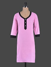Pink Cotton Kurta With Black Panels - Swanky