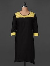 Round Neck Lace Yoke Cotton Kurta - Swanky