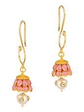 Pink Stone Embellished Gold Drop Earrings - By