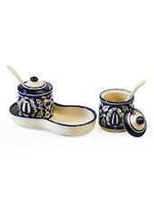 Navy Blue And Cream Condiment Holders With Tray - Cultural Concepts