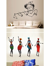 Krishna Modern Art And African Ladies Combo Wall Stickers -  online shopping for Wall Decals & Stickers