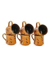 Brown Ceramic Ribbed Tea Cup Set - Cultural Concepts
