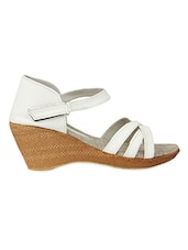 White Overlapped Straps Heel Sandals - Urban Woods