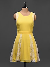 Yellow Sleeveless Fit & Flare Dress - Besiva