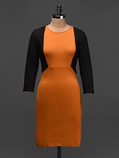 Quarter Sleeves Colour Block Dress - Besiva
