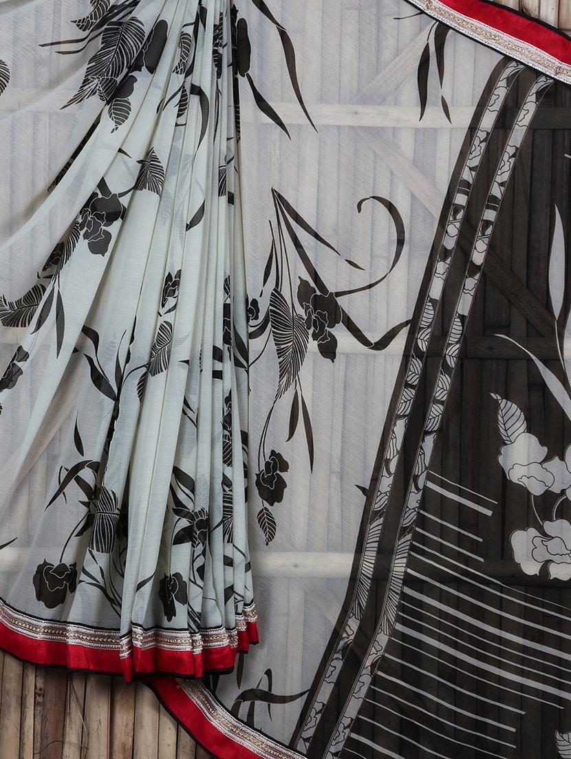 Floral And Leaf Printed Sheer Saree - Siya