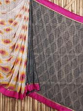 Floral With Ethnic Pattern Prnited Sheer Saree - Siya