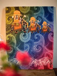Three Ranis On Elephants Wall Art - TUNGS10