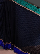 Black And Blue Embroidered  Saree - Jashn