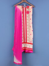 Beige And Pink Embroidered Suit Set - Viva N Diva