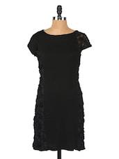 Black Flowers Embellished Bodycon Dress - Globus