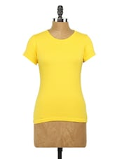 Plain Yellow Round Neck Knit Top - Globus