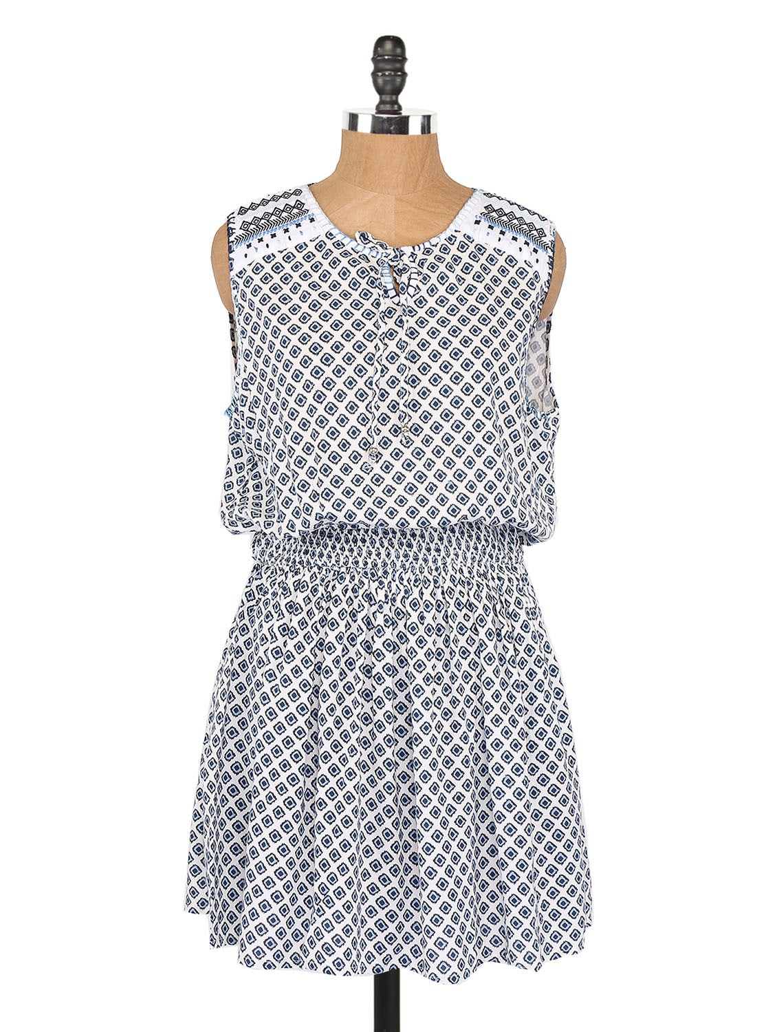 Printed Sleeveless Short Dress - Globus