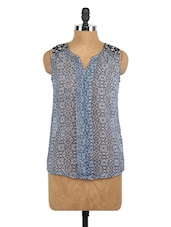 Printed Sleeveless Sheer Top - Globus