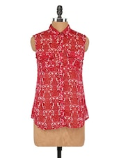 Red Printed Sleeveless Top - Globus