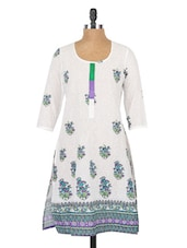 Printed Round Neck Cotton Kurti - Globus