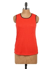 Orange Round Neck Sleeveless Top - Globus