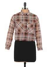 Checked Shirt Collar Full Sleeve Dress - Globus