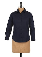 Navy Blue Full Sleeve Formal Shirt - Globus