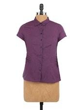 Purple Shirt Colla Short Sleeve Shirt - Globus