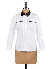 White Stripe Full Sleeve Shirt - Globus