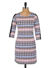 Round Neck Printed Bodycon Dress - Globus