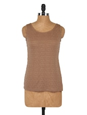 Textured Round Neck Sleeveless Top - Globus