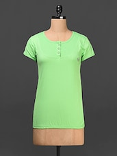 Round Neck Solid Cotton Top - Saadgi