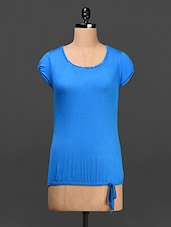 Round Neck Blue Solid Top - Saadgi
