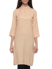 Beige Rayon Regular Kurta - By