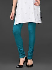 Teal Blue Viscose Lycra Churidaar Leggings - De Moza