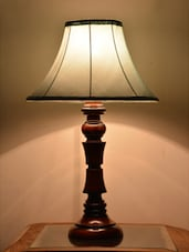 Sky Blue Wooden Table Lamp - Yashasvi