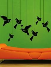Hanging Puppet Birds Vinyl Wall Sticker - Creative Width Design