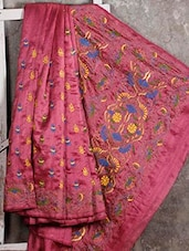 Kantha Embroidered Dusky Pink Silk Saree - Manta's