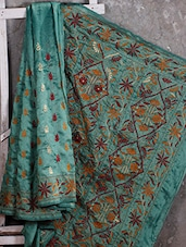 Kantha Embroidered Teal Green Silk Saree - Manta's