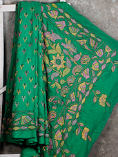 Kantha Embroidered Green Silk Saree - Manta's