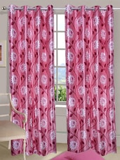 Floral Printed Pink Eyelet Door Curtain - Handloomdaddy