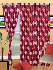 Check Printed Polyester Eyelet Door Curtain - Handloomdaddy