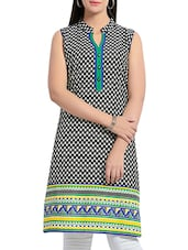 Black And Blue Cotton Kurta - By