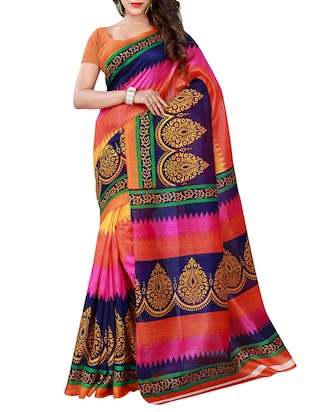 multi  bhagalpuri silk printed saree -  online shopping for Sarees