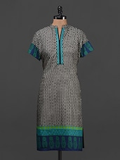 Printed Short Sleeves Cotton Kurti - Kaccha Taanka