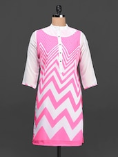 Pink & White Chevron Print Georgette Kurti - Ayaany