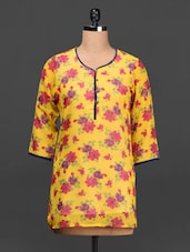 Yellow Floral Print  Poly-georgette Top - Ayaany
