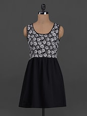 Floral Printed Monochrome Sleeveless Polygeorgette Dress - Belle Fille