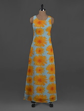 Floral Printed Sleeveless Polygeorgette Maxi Dress - Belle Fille