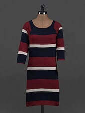 Stripes Printed Cotton Knit Dress - Belle Fille