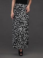 Floral Printed Monochrome Crepe Skirt - Belle Fille