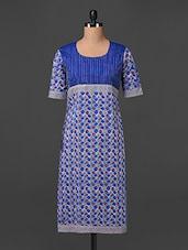 Printed  Round Neck Short Sleeves Kurti - Shuddhi