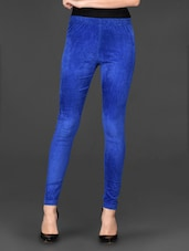Blue Plain Solid Cotton Jeggings - Posh 7