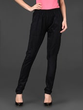 Black Plain Solid Cotton Jeggings - Posh 7